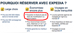 """Les engagements Expedia"" Visibles sur le site officiel Expedia.fr"