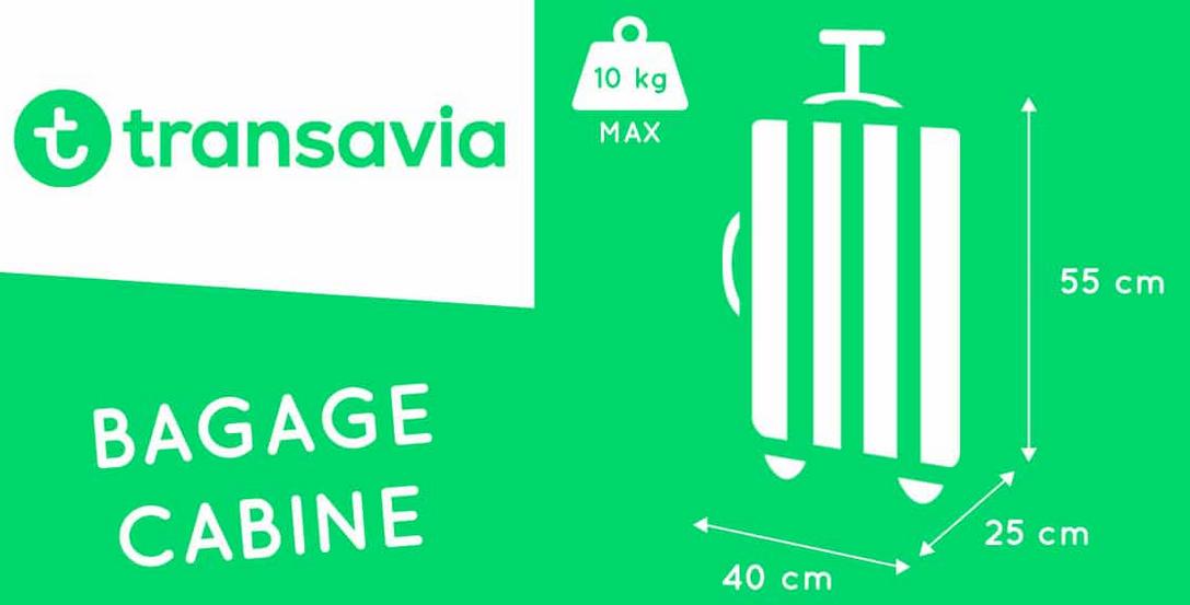 taille valise cabine transavia