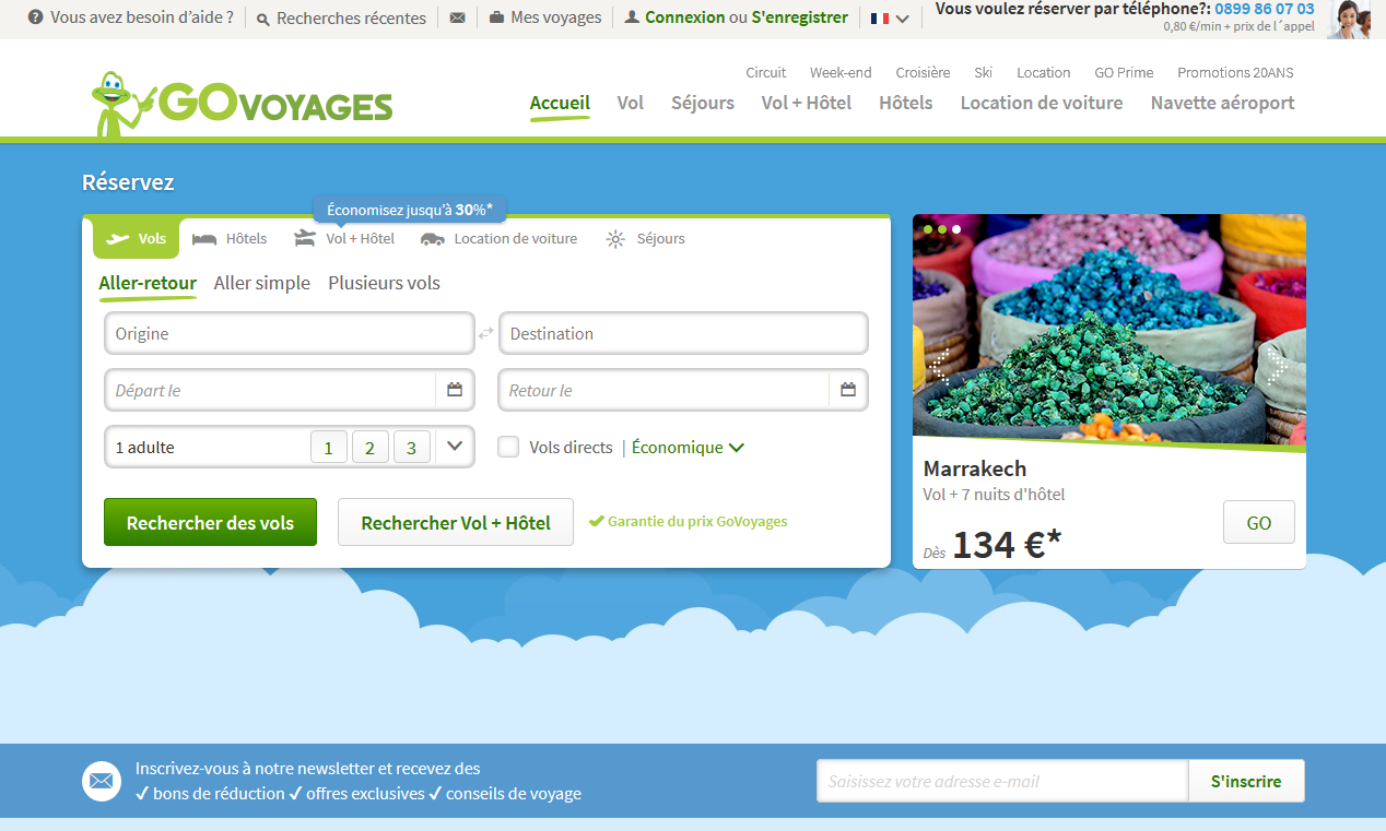 page accueil go voyages