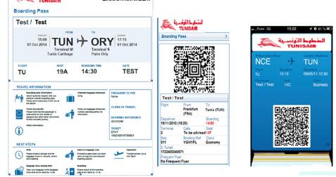Carte embarquement Tunisair